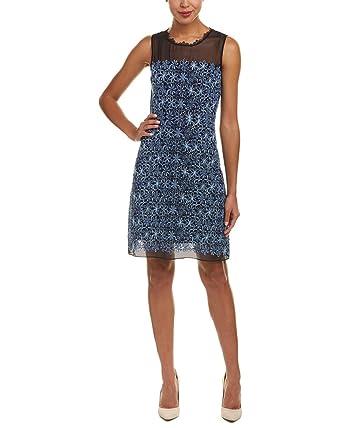 a589d600e1b13 Elie Tahari Womens Ophelia Embroidered Sleeveless Casual Dress Blue 12:  Amazon.co.uk: Clothing
