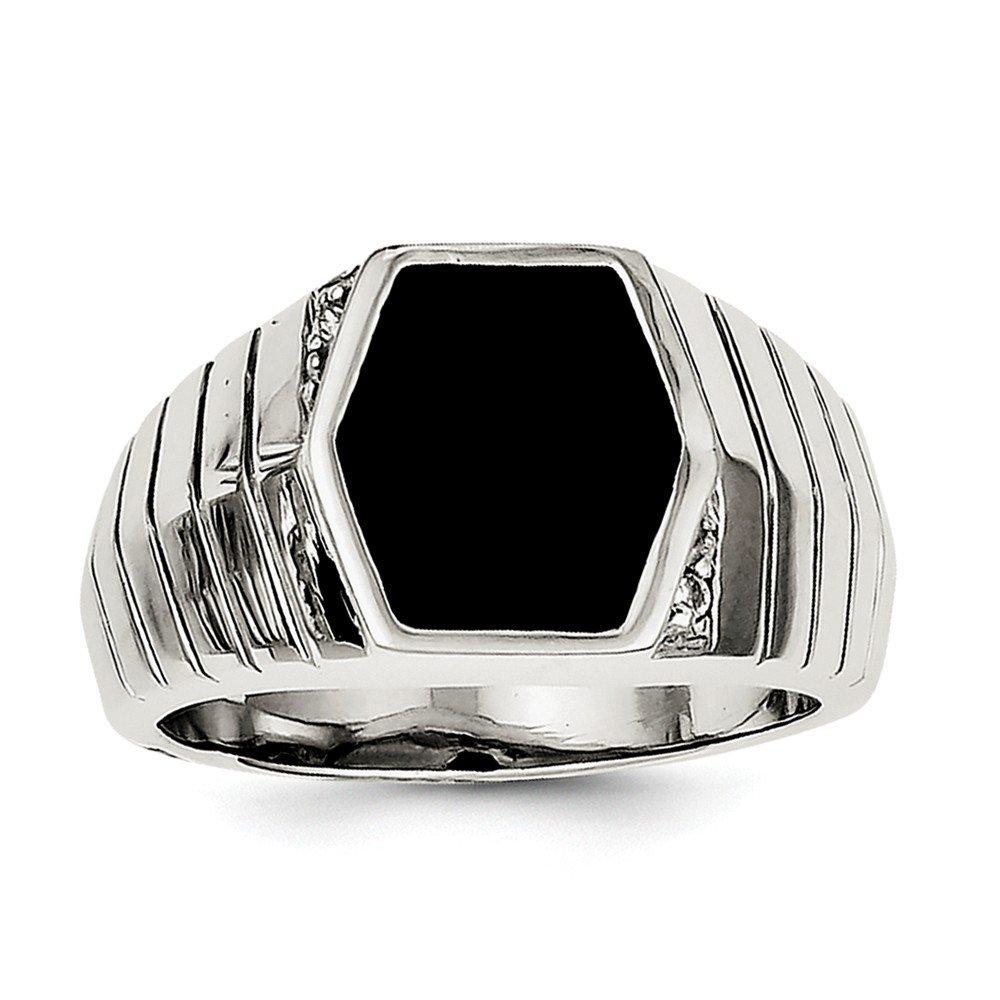 Brilliant Bijou Solid .925 Sterling Silver Mens CZ Cubic Zirconia /& Onyx Ring