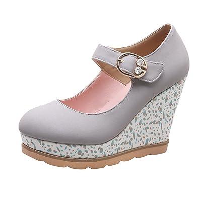 UH Damen Mary Jane Keilabsatz High Heels Plateau Spangenpumps mit Schnalle Mode Schuhe
