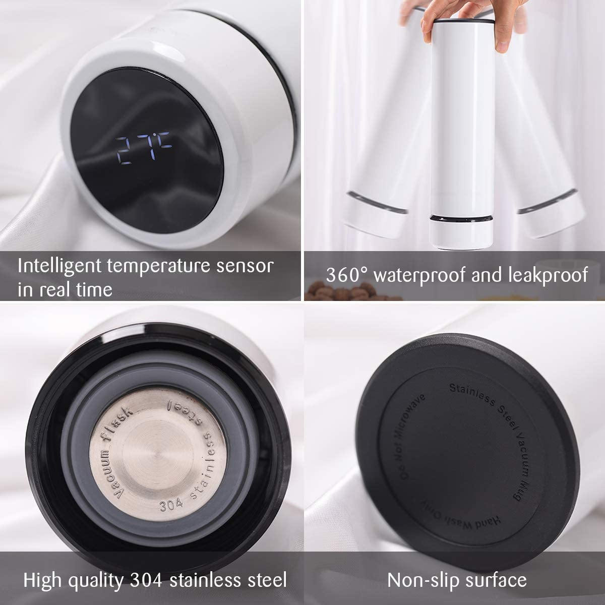 Pantalla LED T/áctil Inteligente con Temperatura Blanco Con Cepillo de Esponja LAOYE Termo Taza 500ML T/érmica de Doble Pared Caf/é Taza de Viaje