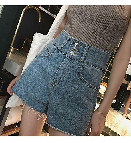 Mujeres Verano Alta De Cortas Señoras Sueltos Salvajes Cintura Blue Pierna Pantalones Mezclilla Faldas Cortos Shorts Ancha Yyjzjw Mujer PSxOI7w7q