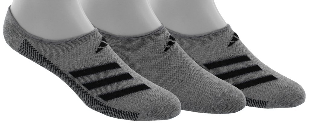 adidas Men's Climacool Superlite Stripe Super No Show Socks (3 Pack), Core Heather/Black/Onix, Size 6-12