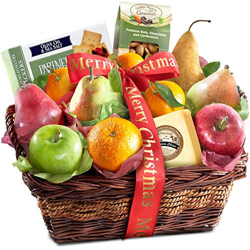 Merry Christmas Fruit Basket with Cheese and Nuts (Healthy Baskets Christmas)