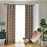 Cheap Jaoul Elegant Jacquard Stripe Blackout Grommet Top Lined Thermal Insulated Room Darkening Curtains Drapes for Living Room,Coffee,52WX84L Inch,1Panel