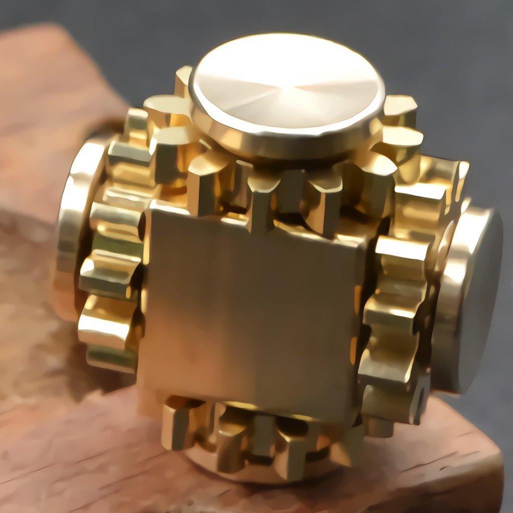 Wewinn Pure Brass Fidget Cube Gears Linkage Fidget Toy Metal DIY EDC Focus Meditation Break Bad Habits ADHD (Brass)