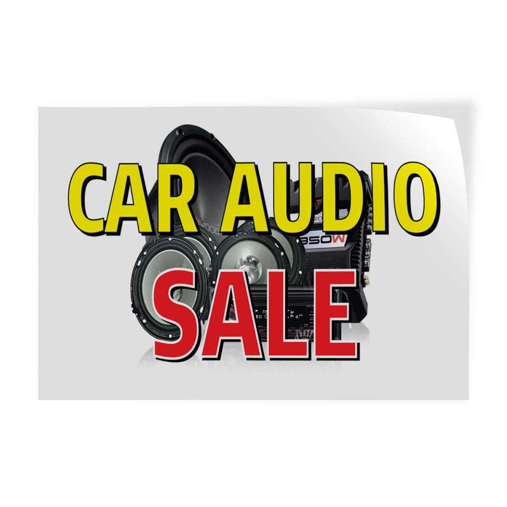 Set of 2 54inx36in Decal Sticker Multiple Sizes Car Audio Sale Auto Car Vehicle Automotive Car Audio Sale Outdoor Store Sign White