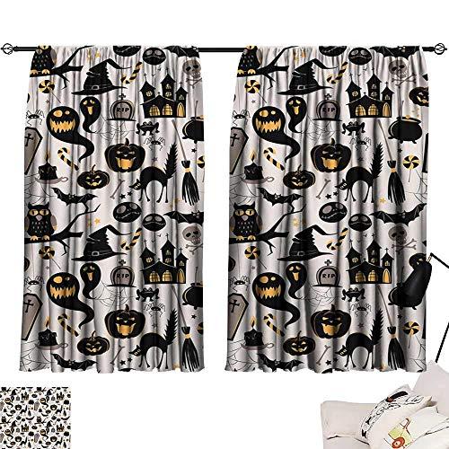 Abeocg Polyester Curtain Vintage Halloween Halloween Cartoon Jack o Lantern Tombstone Skulls and Bones Printing Insulation W55 xL39 Light Grey Multicolor ()