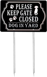 Kichwit Please Keep Gate Closed Dog in Yard Sign, Aluminum, All Metal Construction, 11.8 x 7.9 Inches, Metal Stakes Included