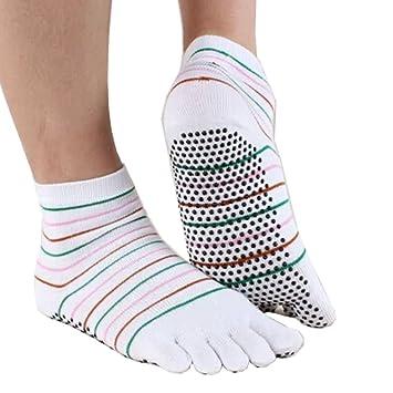 De la Mujer antideslizante calcetines dedos Yoga calcetines ...