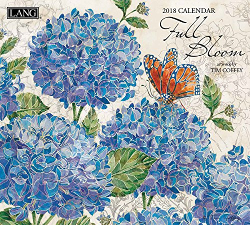 "LANG - 2018 Wall Calendar - ""Full Bloom"" - Artwork By Tim Coffey - 12 Month - Open, 13 3/8"" X 24"""
