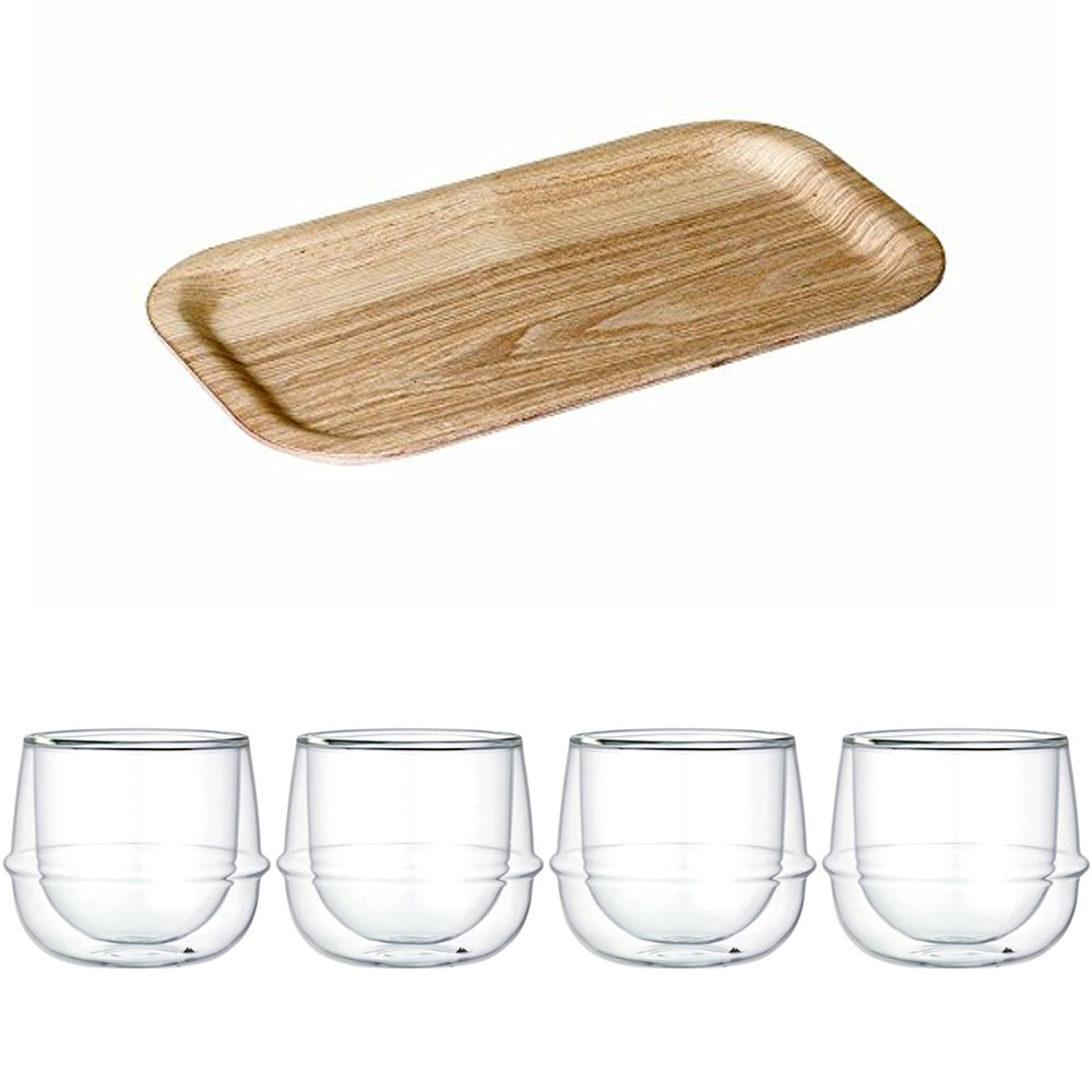 KINTO 8.7 inch Nonslip Slim Willow Tray and Four KRONOS Double Wall Glass Wine Glass, Set of 5