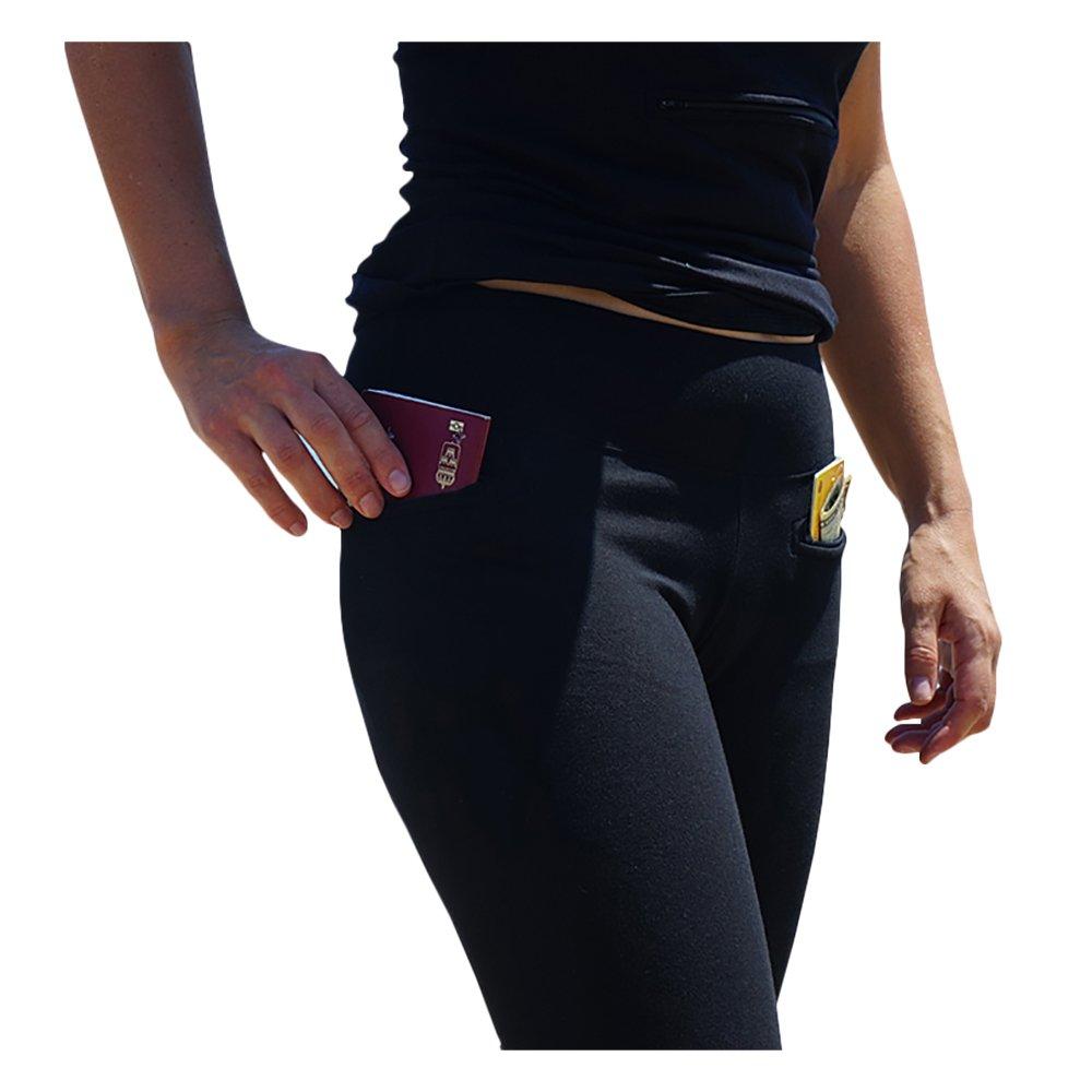 Clever Travel Companion Women's Leggings with Secret Pockets, Black, Large