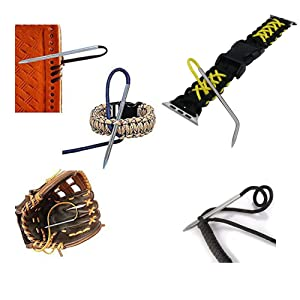 HONG 111 Paracord Stitching Set, 9 Pieces Different Size Paracord FID Stainless Steel Lacing Stitching Needles and Paracord Smoothing Tool with Storage Box for Bracelet and Leather Weaving