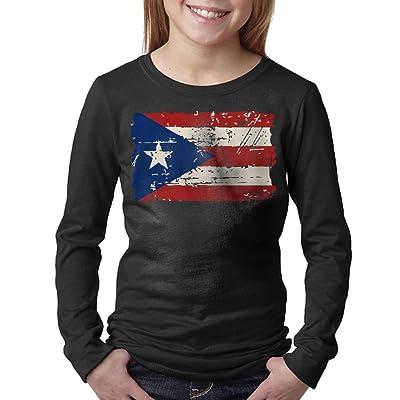 08&FD0 Puerto Rico Flag - Vintage Look Adolescent Long Sleeve Tee Shirts