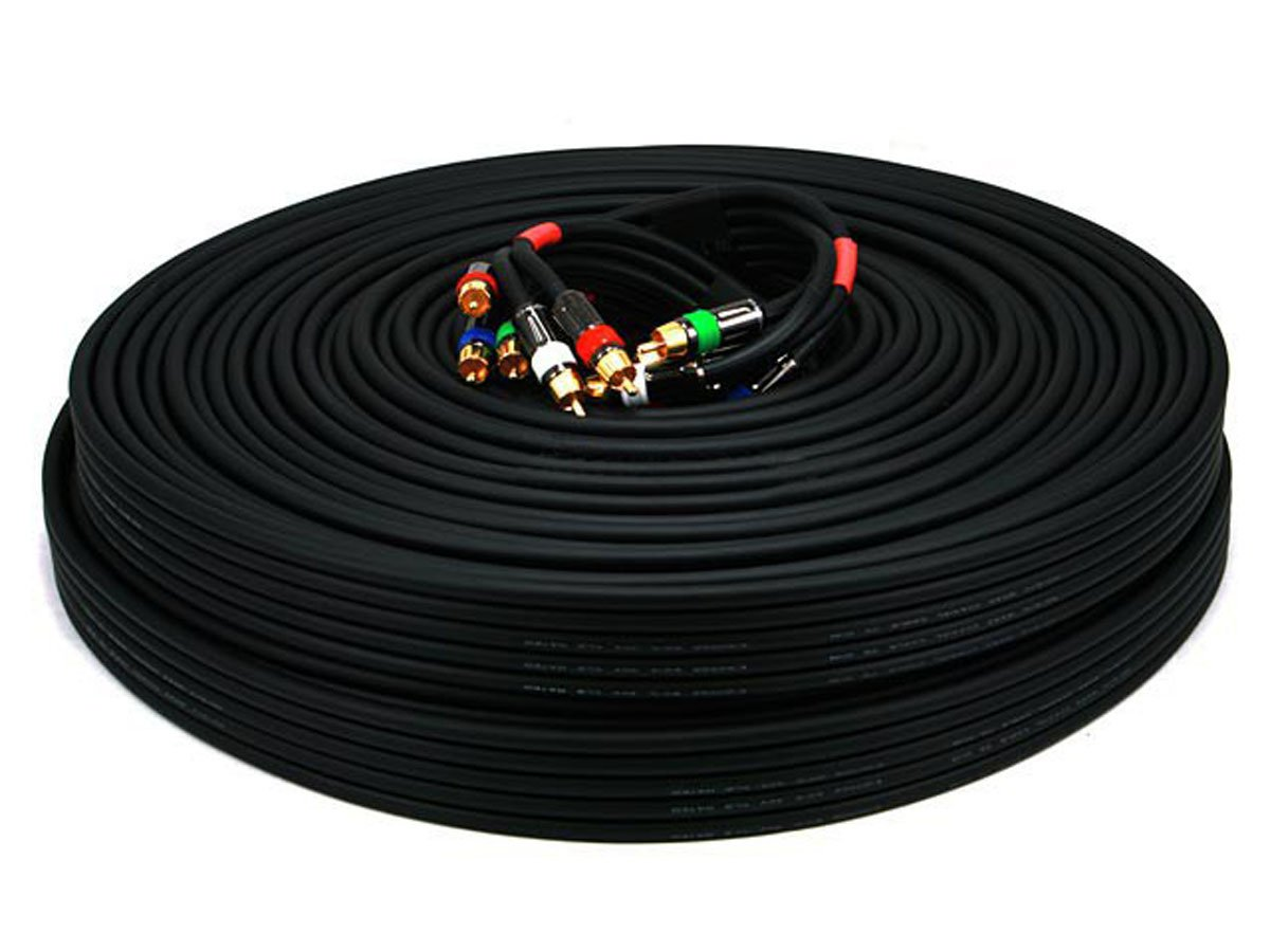 Monoprice 100ft 18AWG CL2 Premium 5-RCA Component Video/Audio Coaxial Cable (RG-6/U) - Black