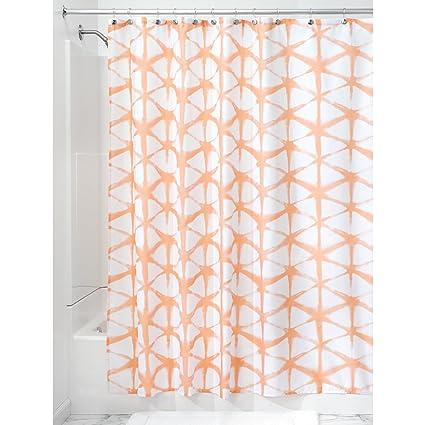 InterDesign Diamond Fabric Batik Shower Curtain Melon