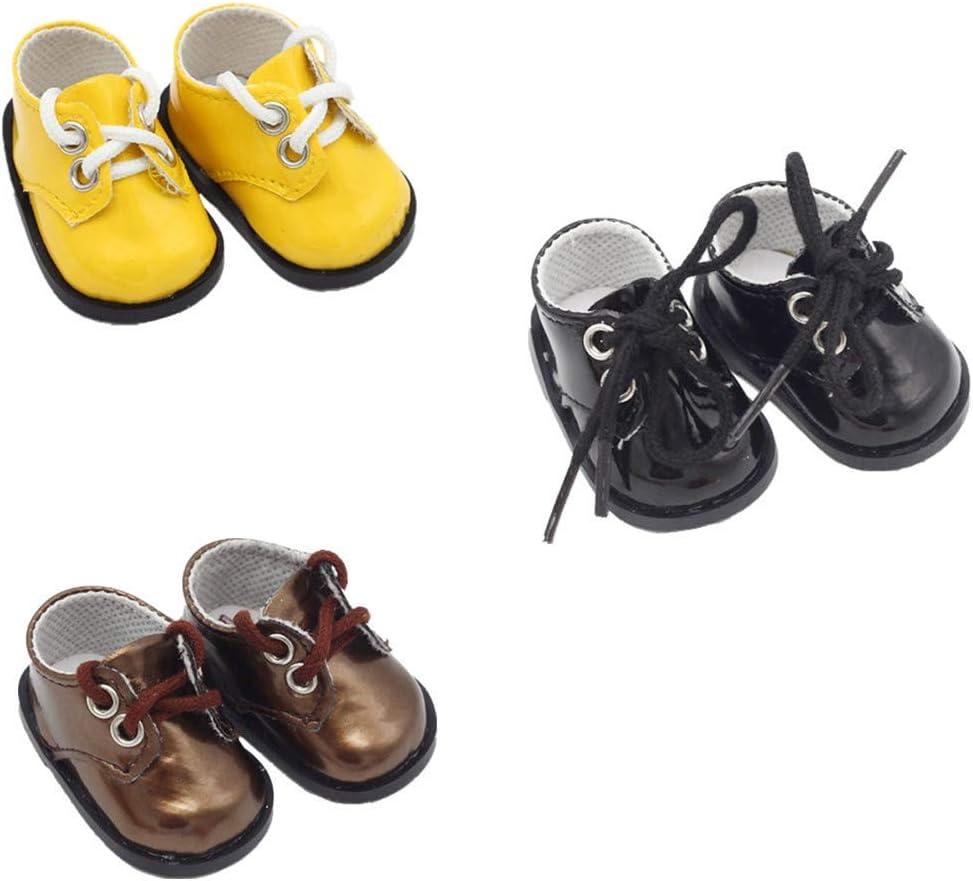 Fully 3 pares Zapatos de cuero de muñeca de PU con cordones de zapatos para muñecas de 14 pulgadas