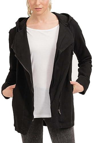 trueprodigy Casual Mujer marca Chaqueta militar ropa retro vintage rock vestir moda con capucha manga larga slim fit designer cool urban fashion jacket color negro 3573501-2999