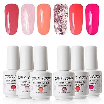 d20fac1053 Gellen Glitter Gel Nail Polish Colours Gift Set UV LED Gel Nail Varnish 6  Colours 8ml