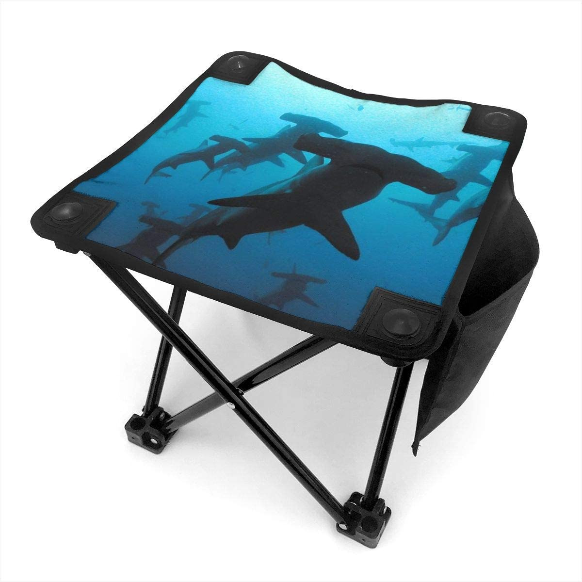 Taburete de camping Shark Under Blue Water Small Camping Stool Fishing Travel Outdoor Folding Stool Portable Oxford Cloth Slacker Stool with Side Pocket for Camping Walking Hunting Hiking Picnic Gard: Amazon.es: Jardín