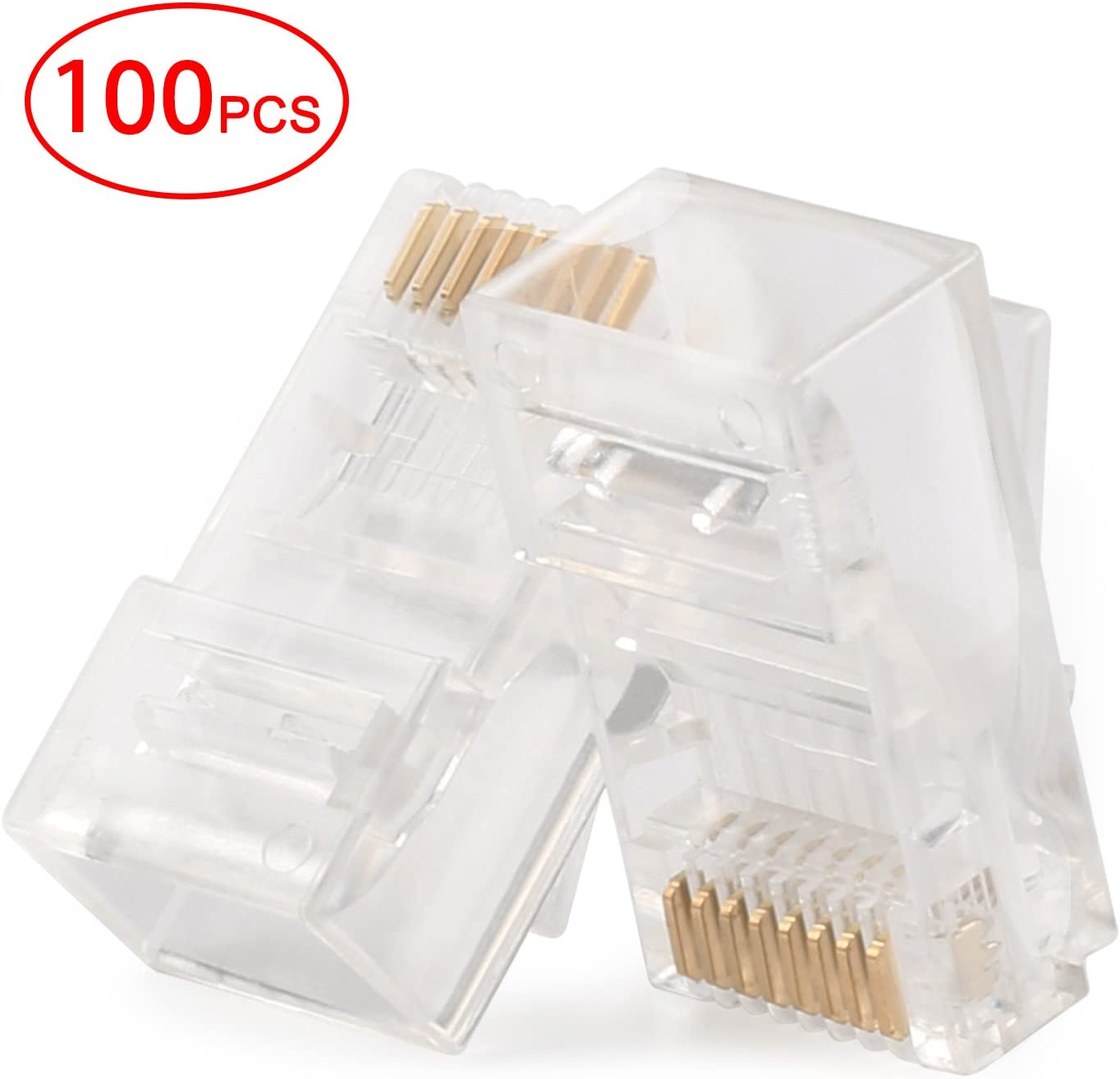 Postta RJ45 CAT5 CAT5E CAT6 Connector 8P8C UTP Gold Plated Ethernet Crystal Head 100 Pieces