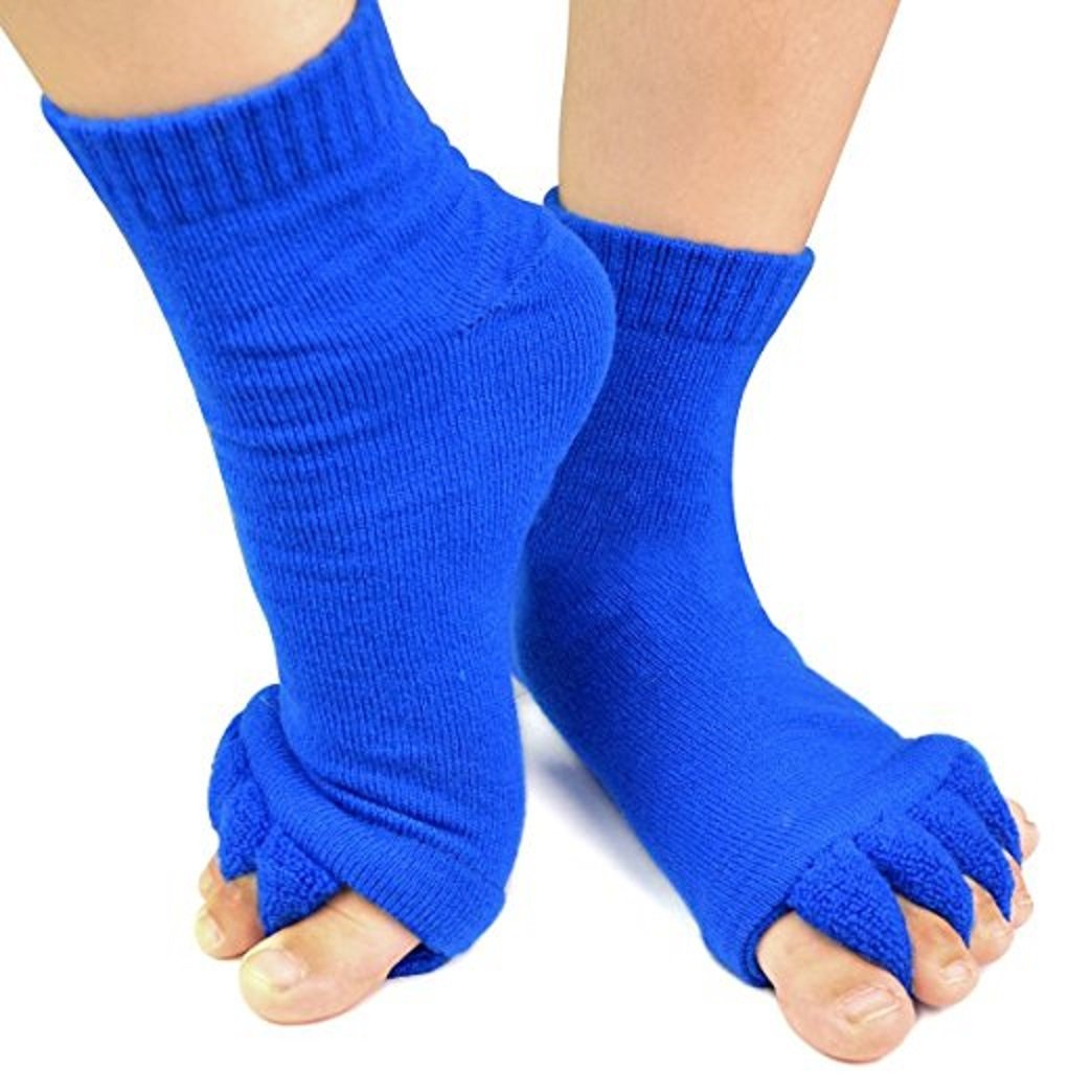 1 Pair Yoga GYM Massage Five Toe Separator Socks Foot Alignment Pain Relief Hot / Blue by N.A.H.C.