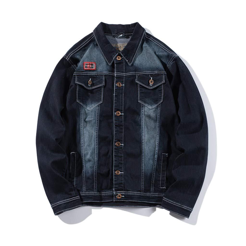 WINJUD Mens Denim Jacket Vintage Washed Distressed Top Long Sleeve Outdoor Coat (C Blue,2XL) by WINJUD