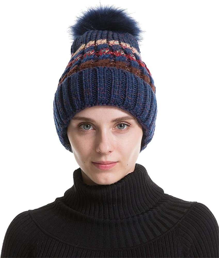 Plain Winter Unisex Men/'s Women/'s Hat Extra Warm Double Fur Knit Beanie Navy