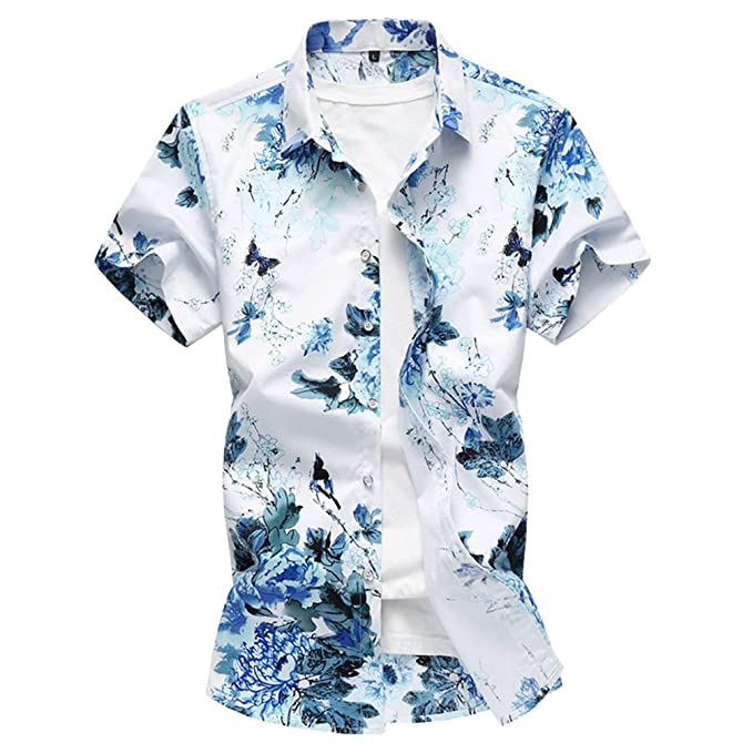 ed248ac2ab Zhiyuanan Camisa Estampada De Flores De Manga Corta Para Hombre Aloha Blusa  Camiseta De Vestir De Flor Hawaianas Camisas De Playa Fiesta  Amazon.es   Ropa y ...