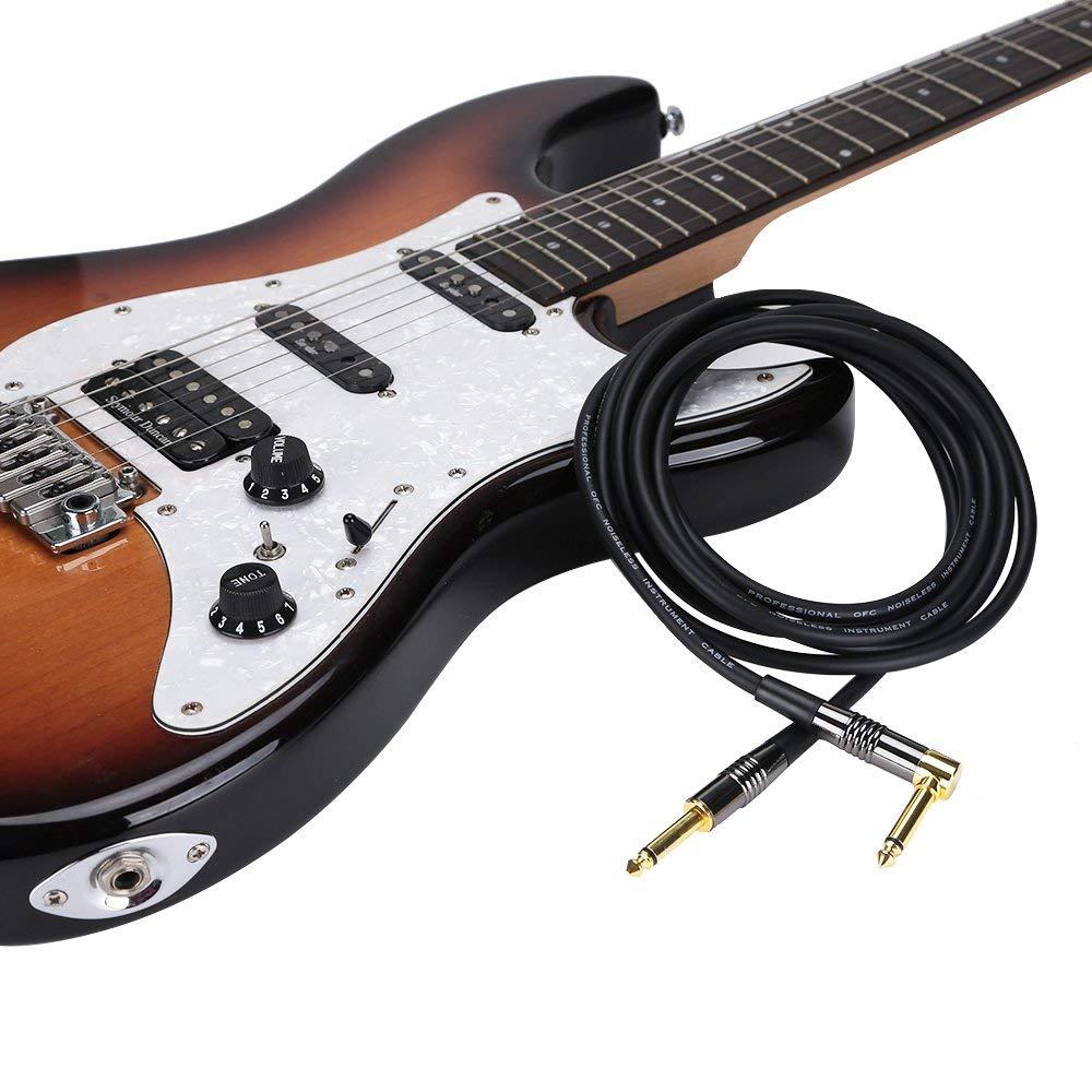 Rayzm Cable de la Guitarra - 3 Metros Silencioso Guitarra / Bajo Plomo, 1/4
