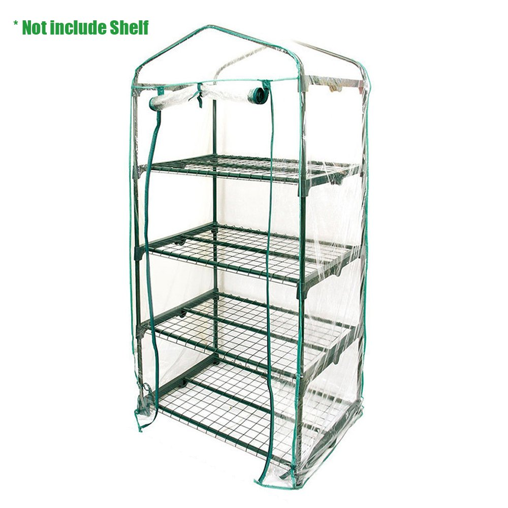 Enjoygous 4 Tier Mini Greenhouse PVC Covers Replacement, Transparent Walk-in Plant Green House Growbag Plastic Stands Cover Protector for Flower Garden Outdoor - 28'' L x 19'' W x 57'' H