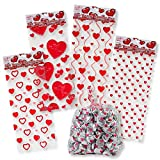 Valentine Cellophane Bags 100 Pack with Twist Ties Valentines Favor Treat Gift Goodie Cello Bags for Party Candy Cookies , 4 Assorted Styles: more info