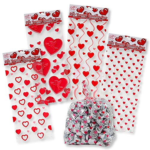 (Valentine Cellophane Bags 100 Pack with Twist Ties Valentines Favor Treat Gift Goodie Cello Bags for Party Candy Cookies , 4 Assorted Styles)