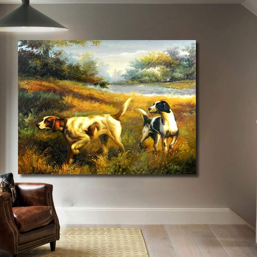 DADABOX Print Painting Frameless Wall Art Dogs Hunting Farm Oil Painting On Canvas Picture Wall Paintings for Living Room Home Decor