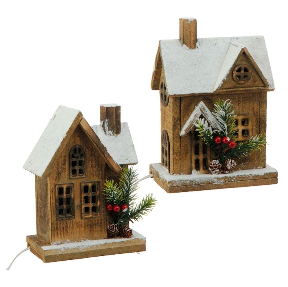 Lighted Wooden Houses - Set of 2 Village RAZ Imports 3617259
