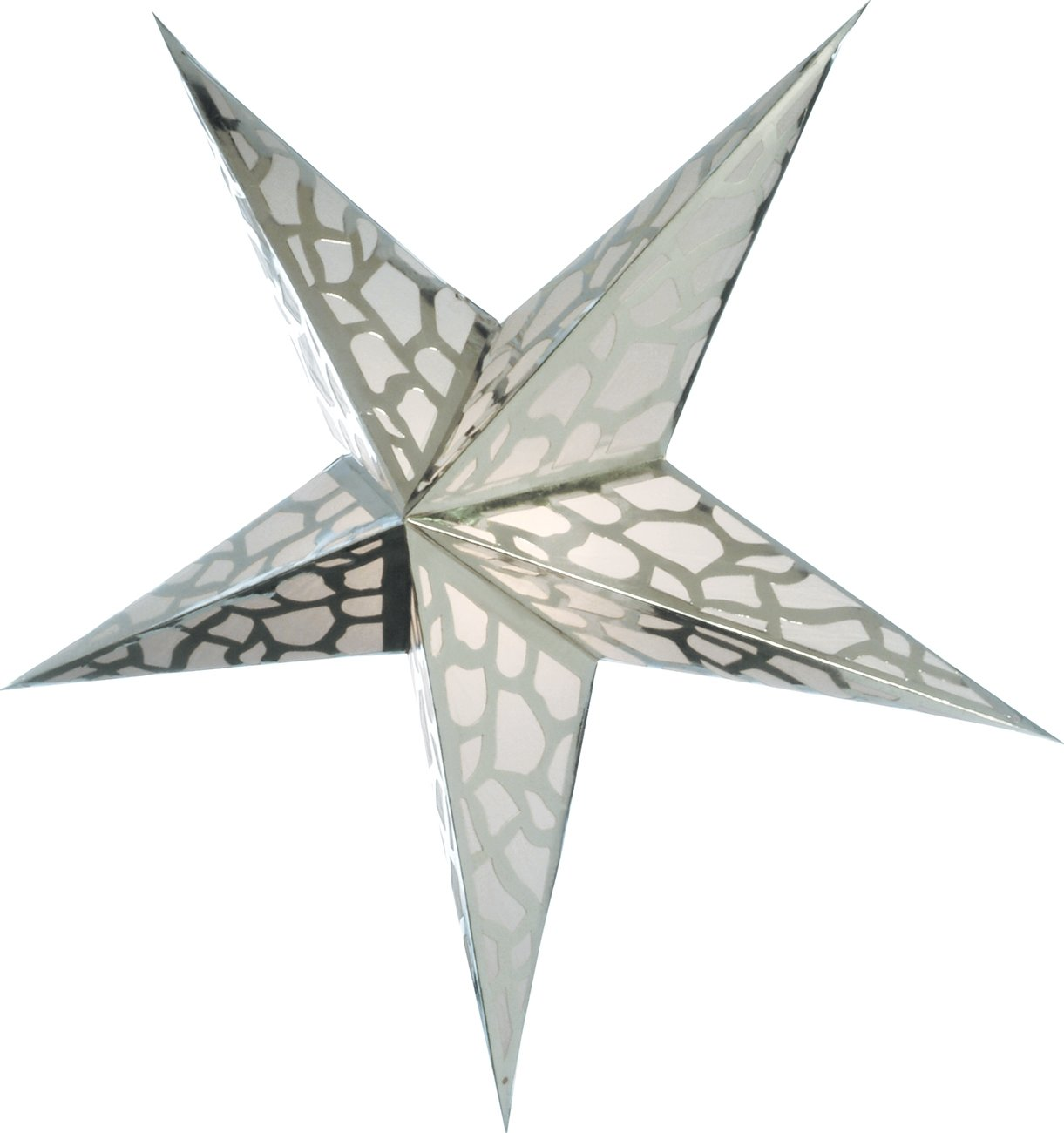 Luna Bazaar Paper Star Lantern (24-Inch, Platinum Silver) - For Home Decor, Parties, and Holiday Decorations