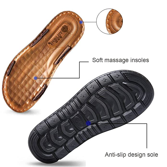 3cc4ac11a7fcc7 JPFCAK Sport Sandals Outdoors Summer Men s Leather Trekking Travel Beach  Shoes Breathable Exposed Toes Bandage Walking Fisherman Shoes   Amazon.co.uk  Shoes ...