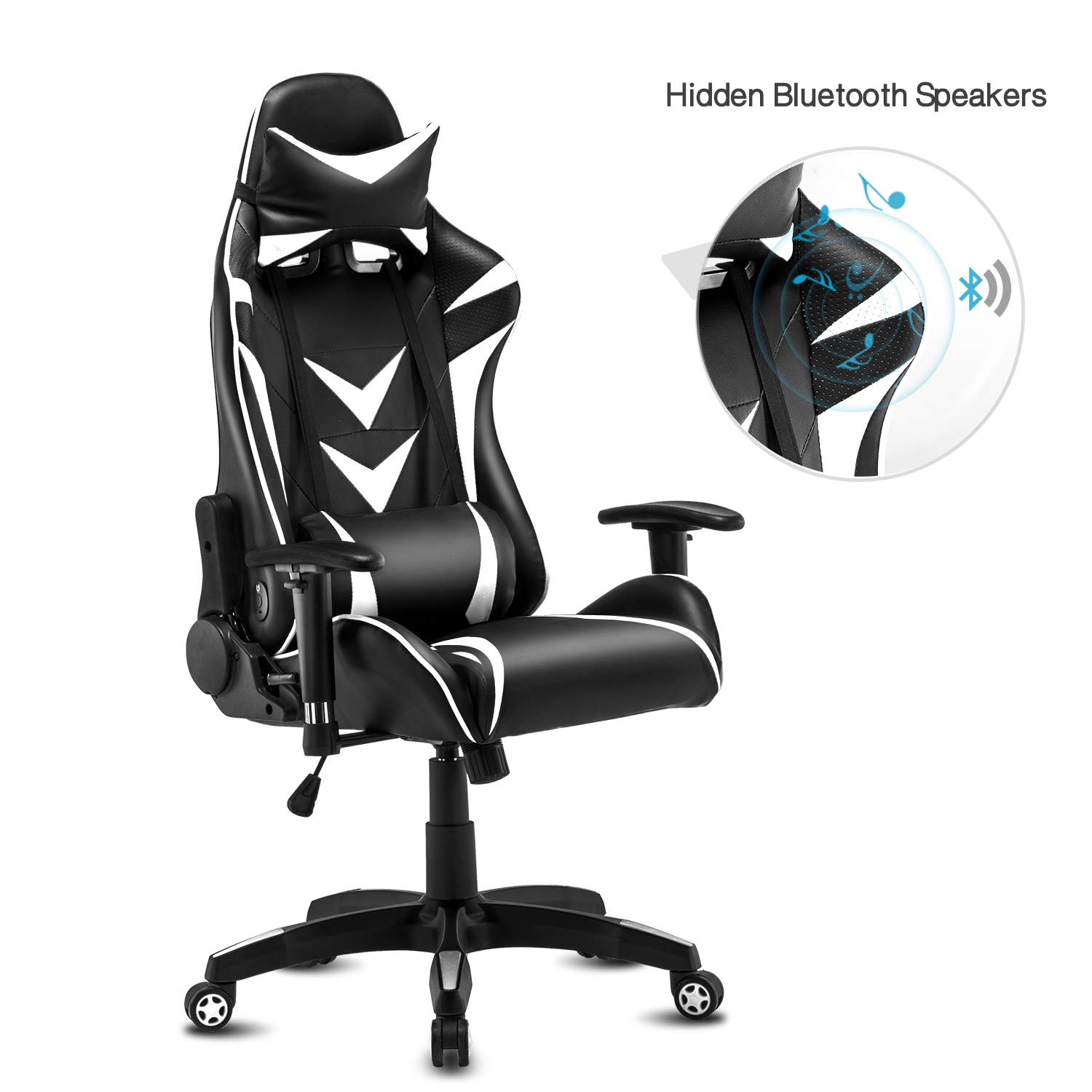 Modern-Depo High-Back Swivel Gaming Chair Recliner with Bluetooth 4.1 Speakers & Lumbar Support & Headrest   Height Adjustable Ergonomic Office Desk Chair - Black & White by Modern-Depo