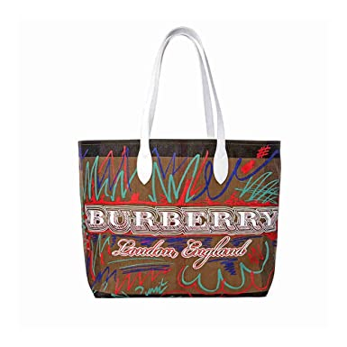 50fae6d6679e Image Unavailable. Image not available for. Color  Burberry Women s  Doodletote Check Reversible Canvas Tote