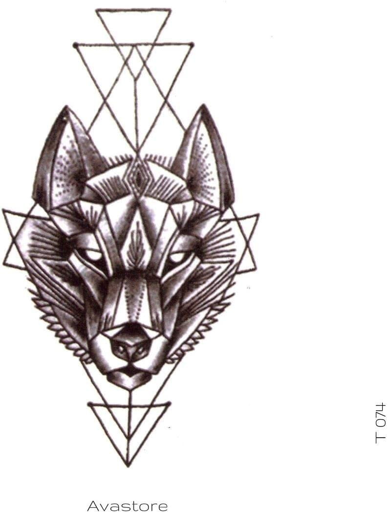 Avastore - Tatuaje temporal, diseño de lobo geométrico: Amazon.es ...