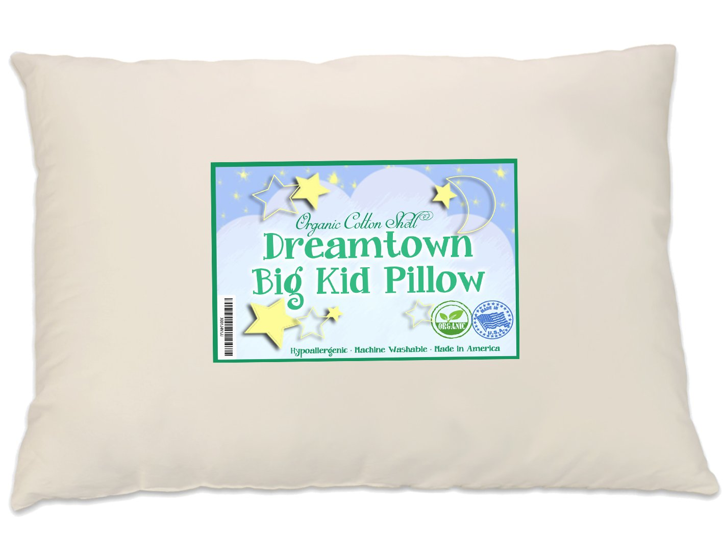 Dreamtown Kids Large Size Kids Pillow (Big Kid Pillow Recommended for Ages 6-8) with a Soft Organic Cotton Shell 16x22 (13x19 After Filled), Made in USA