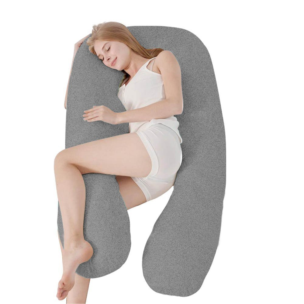 Ang Qi Stretch Jersey Pregnancy Pillowcase - Total Body/Maternity Pillow Replacement Cover - U Shaped Pillowcase - Fit 55'' x 31'' Pillows - Gray by Ang Qi (Image #5)