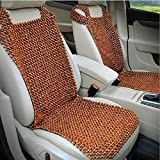 HomDSim Wood Beaded Auto Car Seat Bead Cover,Natural Rosewood Wooden Bead Cool Refreshing Back Massaging Comfort Cushion Mat,Premium Quality Universal for Car Truck on Summer (Front seat)