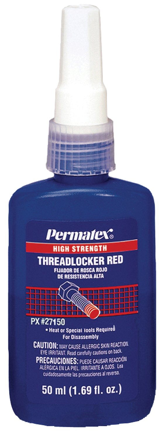 Permatex 27150 Red High Strength Threadlockers, 50 mL, 1'' Thread, 1.69 oz., Bottle by Permatex