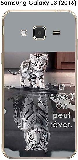 Onozo Coque Samsung Galaxy J3 (2016) Design Chat Tigre Blanc Et Alors !