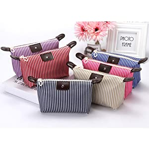 Makeup Bag Small Cosmetic Bags, Stripe Cosmetic Bag,Makeup Bag Cosmetic Bags, for Women Cosmetics Stationery Multifunctional Bag Toiletries Stationery 6 Pack
