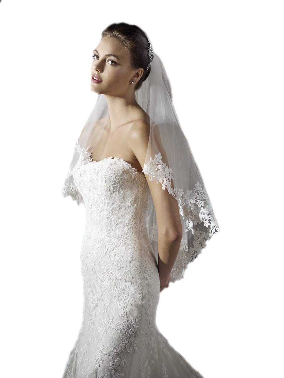 Passat 2 Tier Soft French Lace veils for brides ivory veils Walking bridal wedding with comb 274