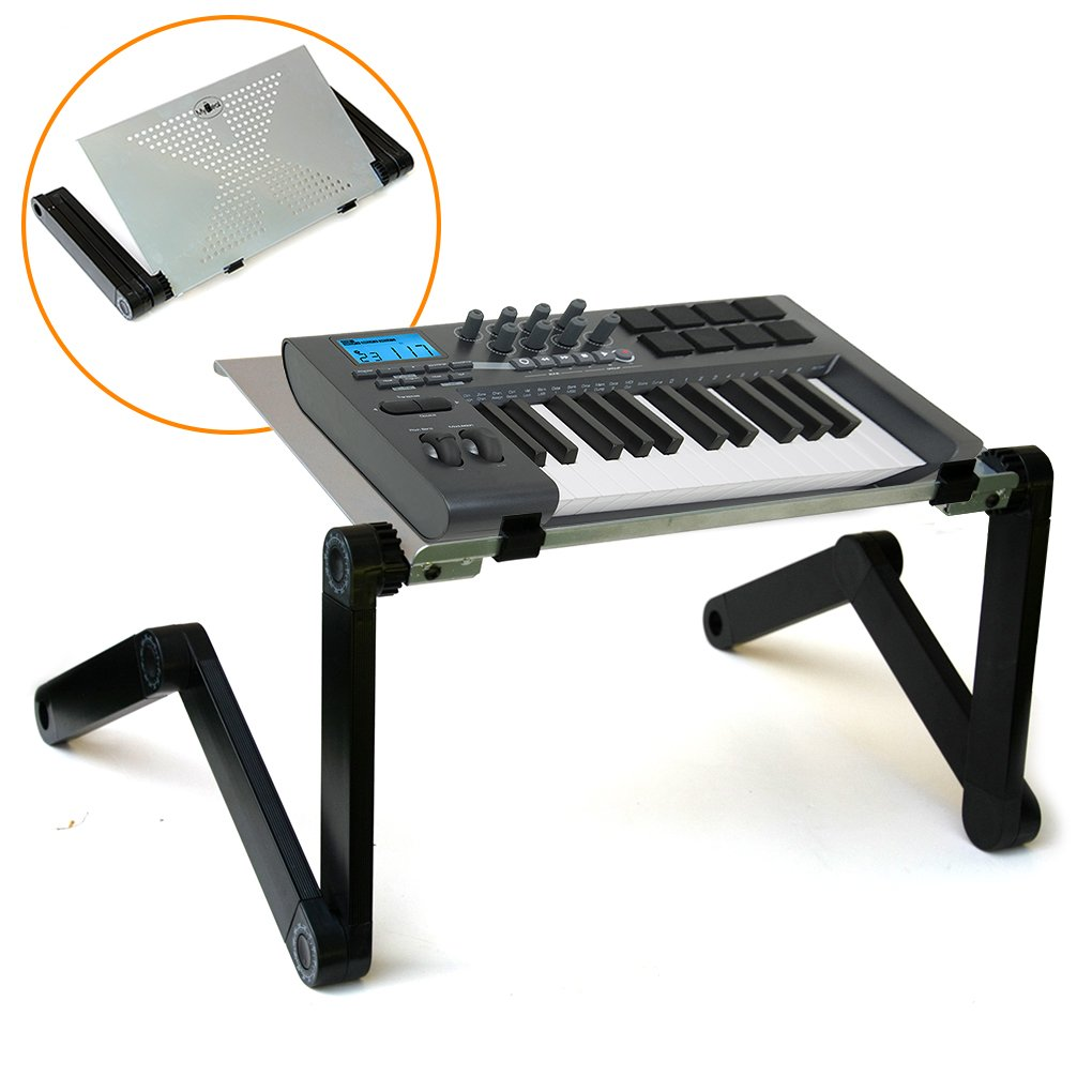 QuickLift Midi Controller Keyboard Effect Stand DJ Mount with Vented Aluminum Alloy Surface and Adjustable Height / Angle. Includes Carabineer Keychain