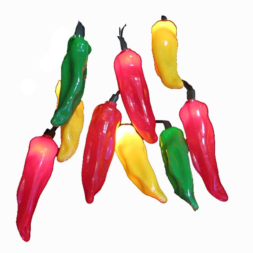Kurt Adler 10 Light 4 Inch Multi Chili Pepper Light Set