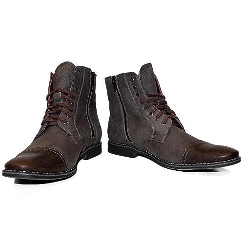 9981d220b687 Modello Muccato - 39 - Handgemachtes Italienisch Leder Herren Braun Stiefel  Stiefeletten - Rindsleder Weiches Leder